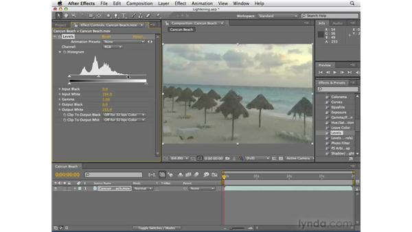 Brightening dark footage: After Effects CS4 Essential Training
