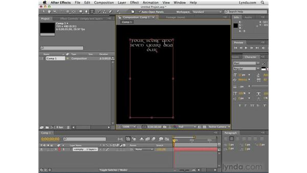 Creating text: After Effects CS4 Essential Training