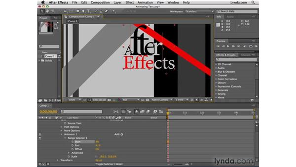 Animating text manually: After Effects CS4 Essential Training