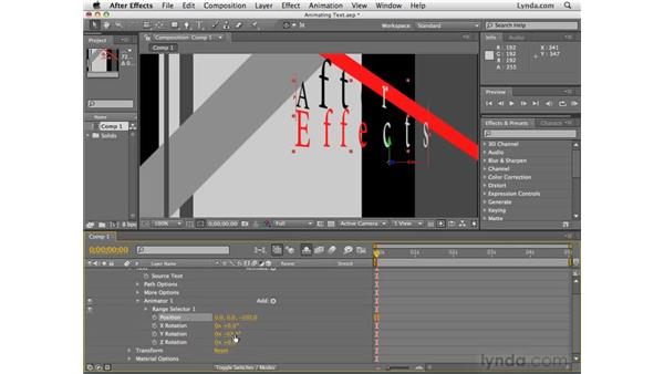 Animating text in 3D: After Effects CS4 Essential Training