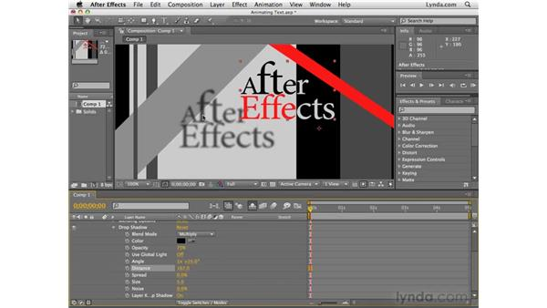 Applying layer styles to text: After Effects CS4 Essential Training