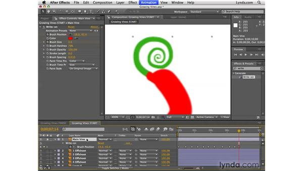 Animating growing vines: After Effects CS4 Essential Training