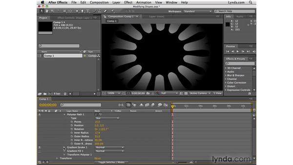 Modifying shape layers: After Effects CS4 Essential Training