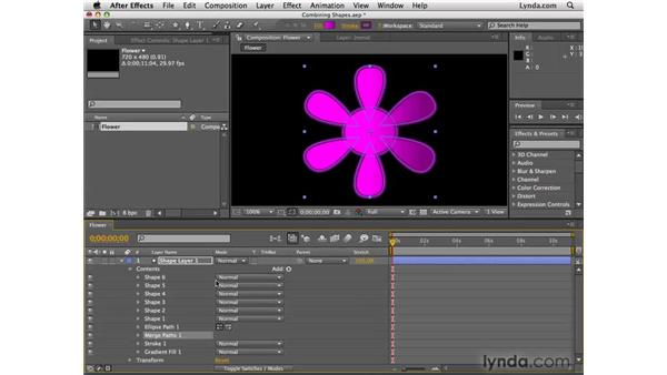 Combining shapes: After Effects CS4 Essential Training