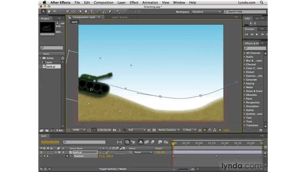 Orienting moving objects along a path: After Effects CS4 Essential Training