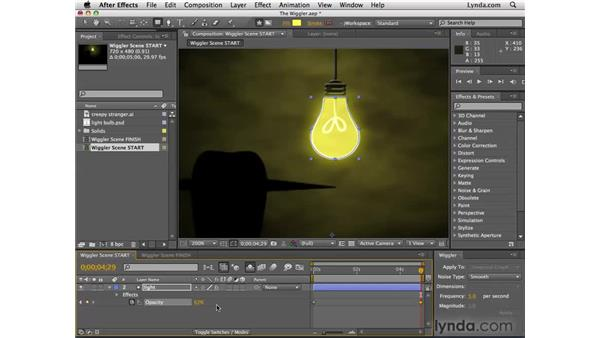 Randomizing keyframes with the Wiggler: After Effects CS4 Essential Training