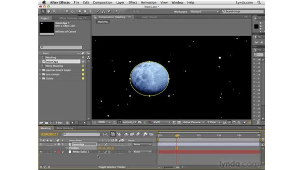 Masking out portions of objects with masks: After Effects CS4 Essential Training