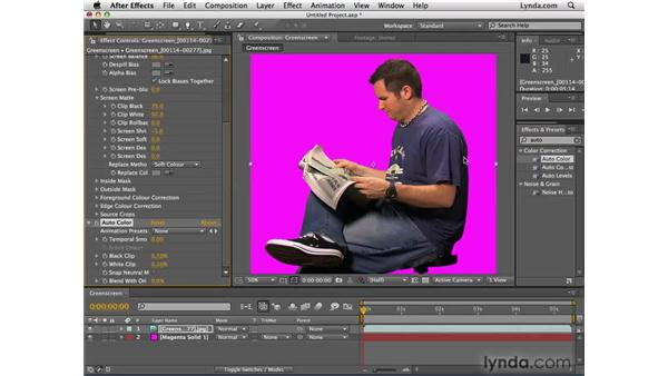 Removing the green screen background: After Effects CS4 Essential Training