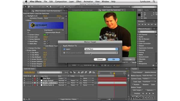 Connecting a fireball to the tracked object: After Effects CS4 Essential Training