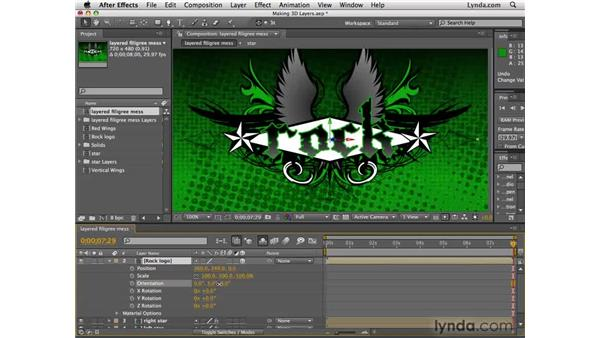 Turning 2D layers into 3D layers: After Effects CS4 Essential Training