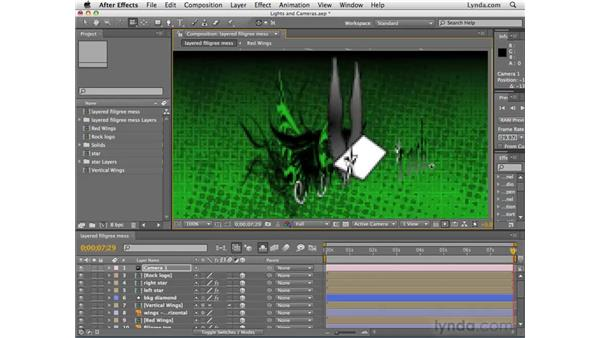 Creating lights and cameras: After Effects CS4 Essential Training