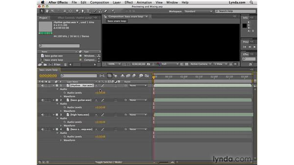 Previewing and mixing audio: After Effects CS4 Essential Training