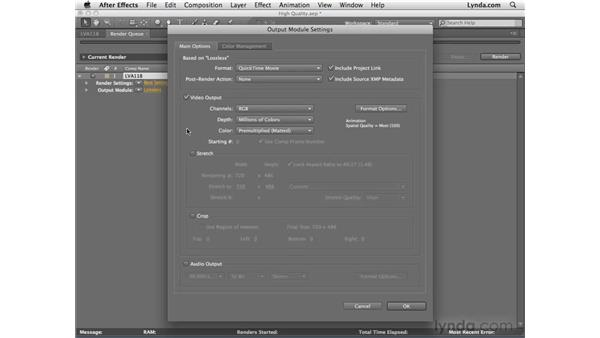 Rendering high-quality video: After Effects CS4 Essential Training