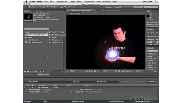 Outputting with an alpha channel: After Effects CS4 Essential Training
