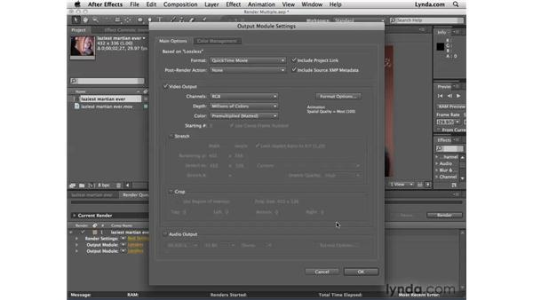 Rendering multiple videos at once: After Effects CS4 Essential Training