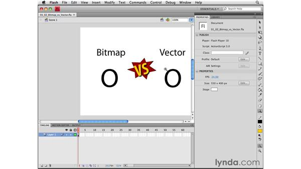 Understanding bitmap and vector graphics: Flash CS4 Professional Essential Training