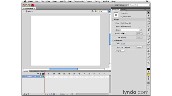 Becoming familiar with the Flash interface: Flash CS4 Professional Essential Training