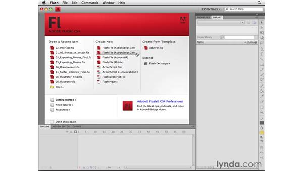 Creating and saving Flash files: Flash CS4 Professional Essential Training