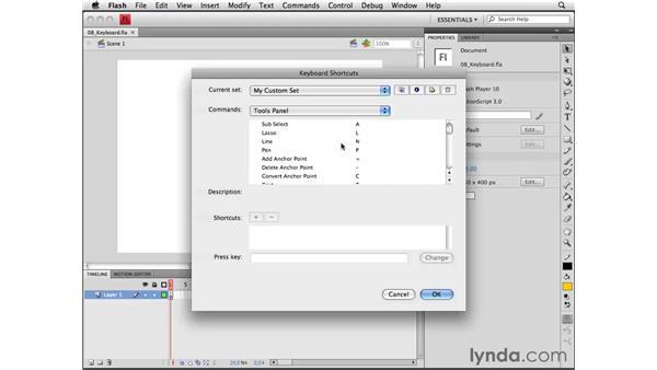 Customizing keyboard shortcuts: Flash CS4 Professional Essential Training