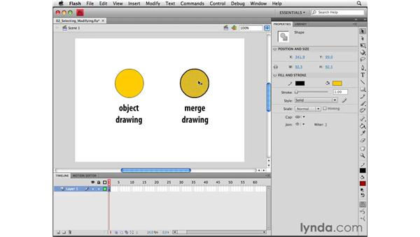 Selecting and modifying shapes: Flash CS4 Professional Essential Training
