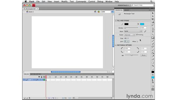 Using the Rectangle and Rectangle Primitive tools: Flash CS4 Professional Essential Training