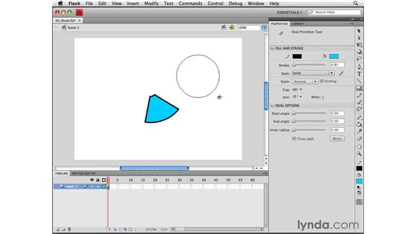 Using the Oval and Oval Primitive tools: Flash CS4 Professional Essential Training