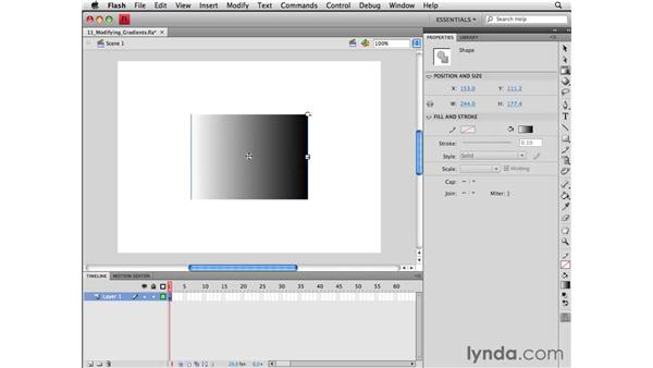 Modifying gradients with the Gradient Transform tool: Flash CS4 Professional Essential Training
