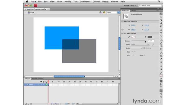 Applying transparency to shapes: Flash CS4 Professional Essential Training