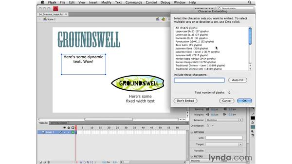 Using dynamic and input text fields: Flash CS4 Professional Essential Training
