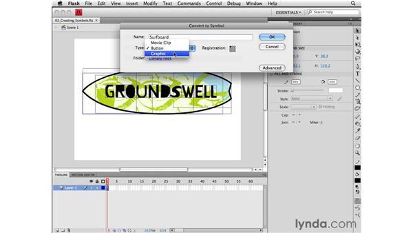 Creating symbols: Flash CS4 Professional Essential Training