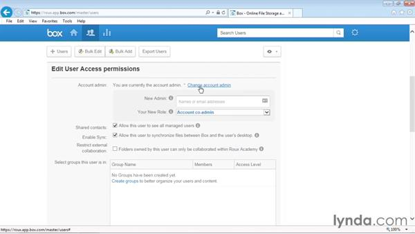 Changing the account administrator: Up and Running with Box Administration