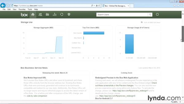 Viewing the account overview graphs: Up and Running with Box Administration