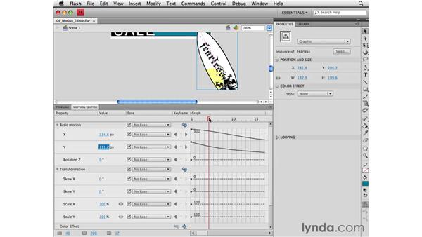 Using the motion editor to modify animation properties: Flash CS4 Professional Essential Training