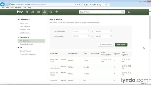 Viewing file statistics and shared link details: Up and Running with Box Administration