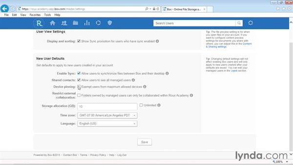 Specifying new user default settings: Up and Running with Box Administration