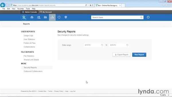 Viewing security reports (enterprise only): Up and Running with Box Administration