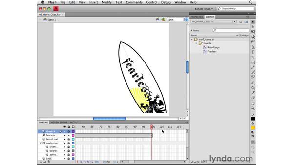 Nesting animations within movie clips: Flash CS4 Professional Essential Training