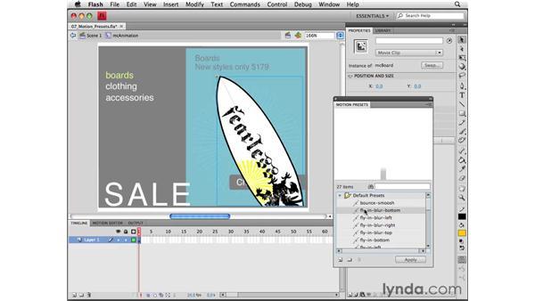 Using motion presets: Flash CS4 Professional Essential Training
