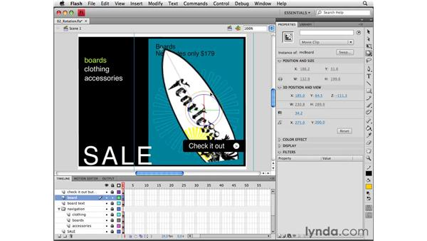 Using the 3D rotation tool: Flash CS4 Professional Essential Training