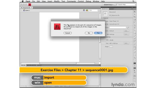 Importing a bitmap sequence: Flash CS4 Professional Essential Training