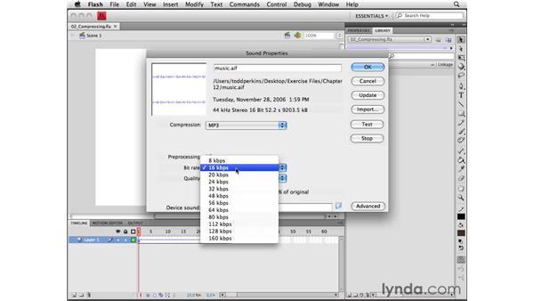 Modifying sound properties: Flash CS4 Professional Essential Training