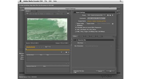 Using the Adobe Media Encoder to encode video: Flash CS4 Professional Essential Training