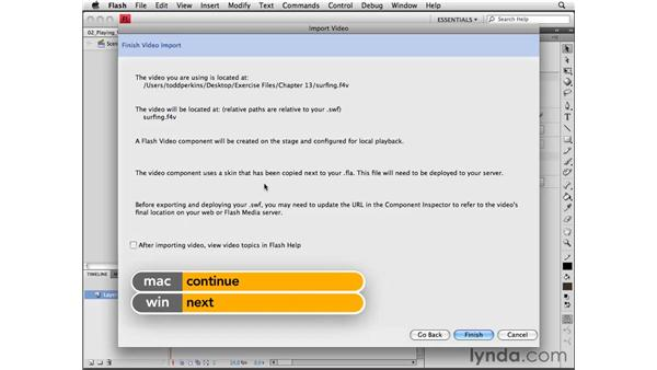 Playing video using the FLVPlayback component: Flash CS4 Professional Essential Training