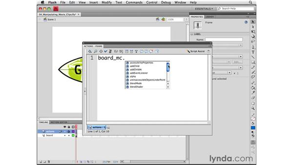 Manipulating movie clips with ActionScript: Flash CS4 Professional Essential Training