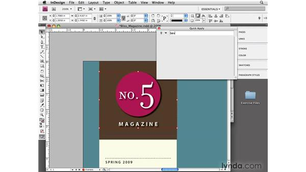 Using Quick Apply: InDesign CS4 Essential Training