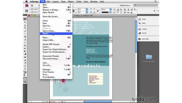 Using Multiple Undo and Revert: InDesign CS4 Essential Training