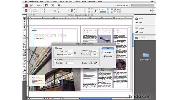 Setting margin and column guides: InDesign CS4 Essential Training