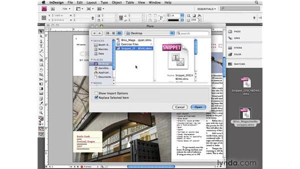 Finding libraries and snippets: InDesign CS4 Essential Training
