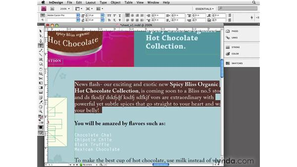 Typing and editing text: InDesign CS4 Essential Training