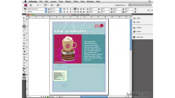Filling with placeholder text: InDesign CS4 Essential Training